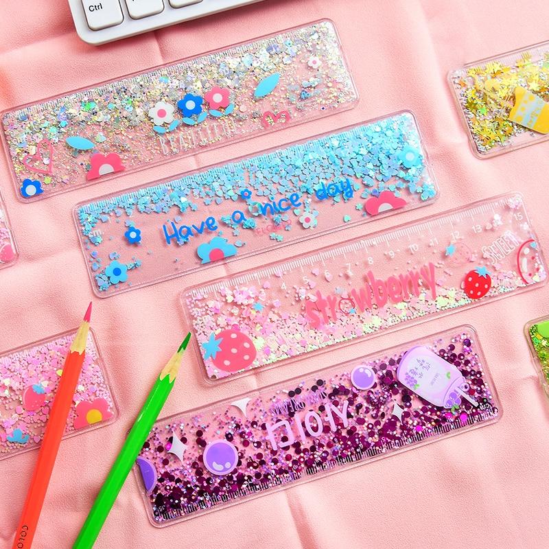 1 Pcs Kawaii Quicksand Ruler PVC Cute Girl Drawing Template Stationery Rulers School Supply
