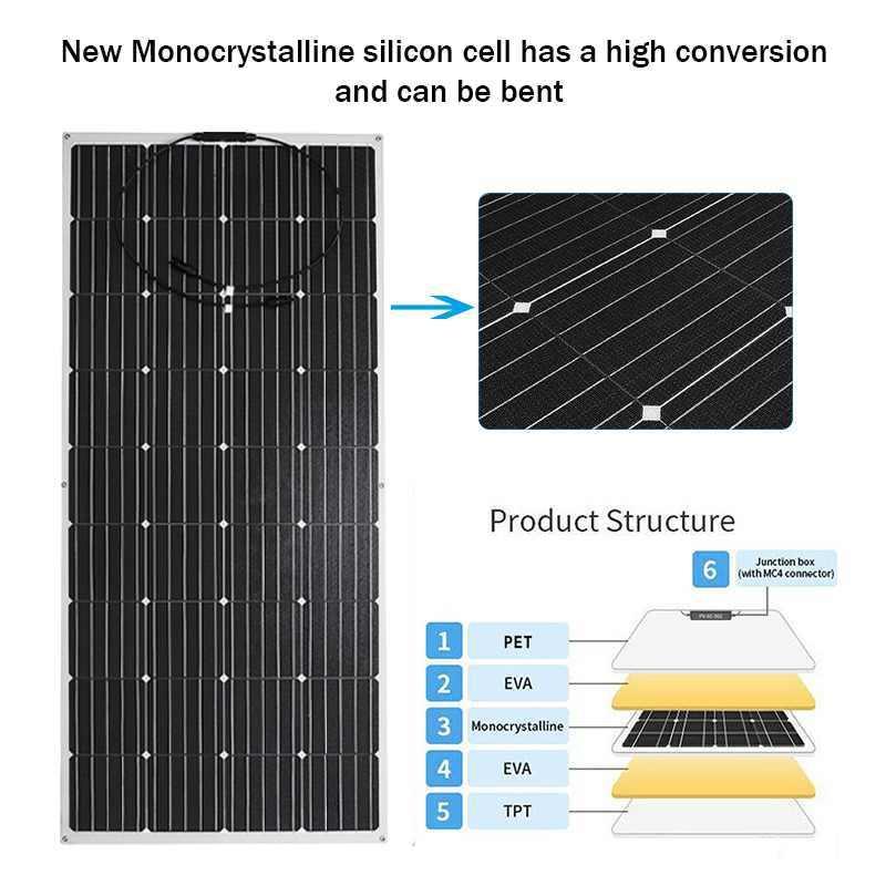 18 فولت 36 فولت شبه مرنة لوحة طاقة شمسية 120 واط/150 واط/200 واط/300 واط USB الخلايا الشمسية لتقوم بها بنفسك وحدة في الهواء الطلق موصل شاحن بطارية ل RV قارب