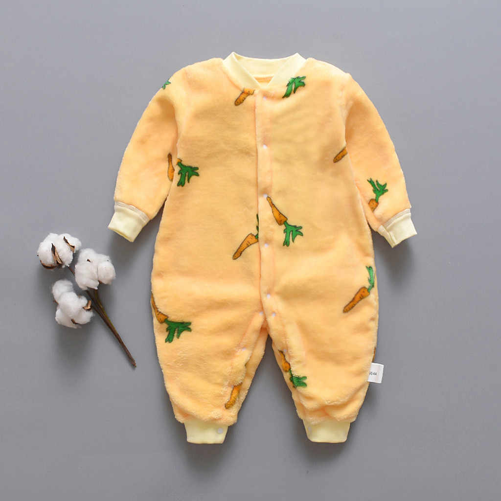 Soft Winter Newborn Romper Cartoon Dinosaur Fleece Warm Long Sleeve Romper Baby Winter Clothes ropa de recien nacido invierno