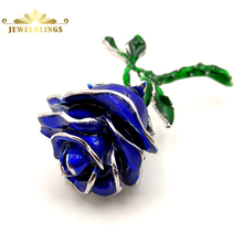 Antique Long Stem Green Leaf Blue Rose Bud Brooches Silver Tone Multi Layered Petals Rose Flower Pin Mother's Day Gift Jewelry