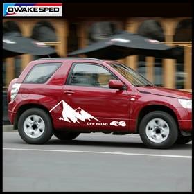 For-Suzuki-Grand-Vitara-AT-MT-Mountain-Graphics-Car-Door-Side-Stickers-4X4-OFF-ROAD-Stripes