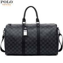 VICUNA POLO Classic Plaid Design Mens Leather Travel Bag Bra