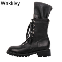 Autumn winter thick bottom martin boots women tight elastic mid calf sock boots fashion lace up back zipper motorcycle botas