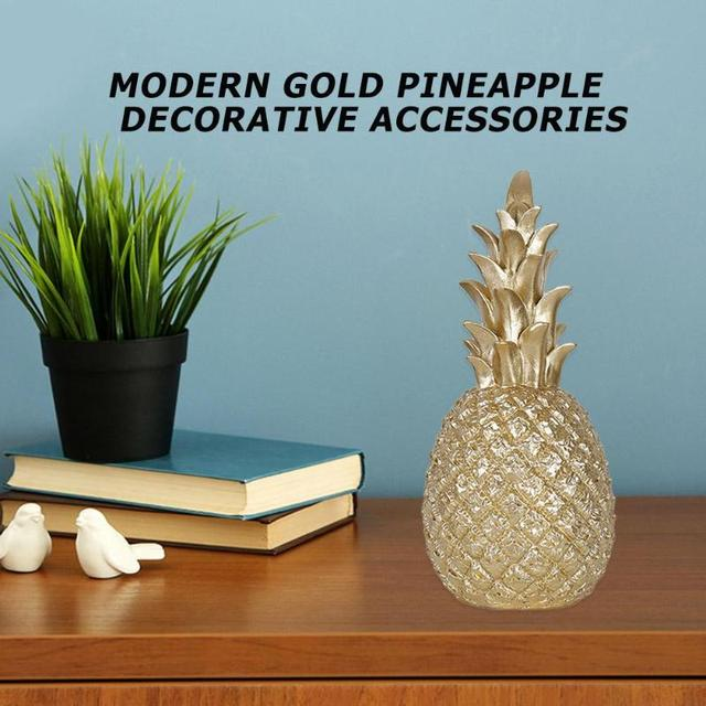 Nordic Style Resin Gold Pineapple Home Decor Living Room Wine Cabinet Window Display Craft luxurious Table Home Decoration Props 5