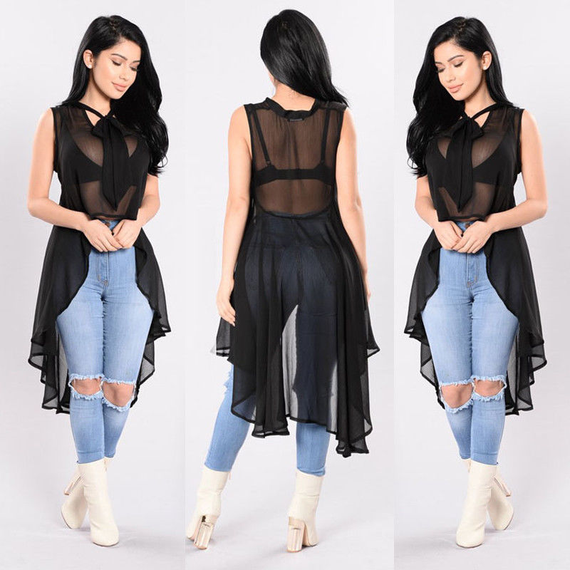 Hirigin Sexy Womens Transparent Fluoroscopy Sleeveless Loose Blouse Casual Shirt Summer Tops