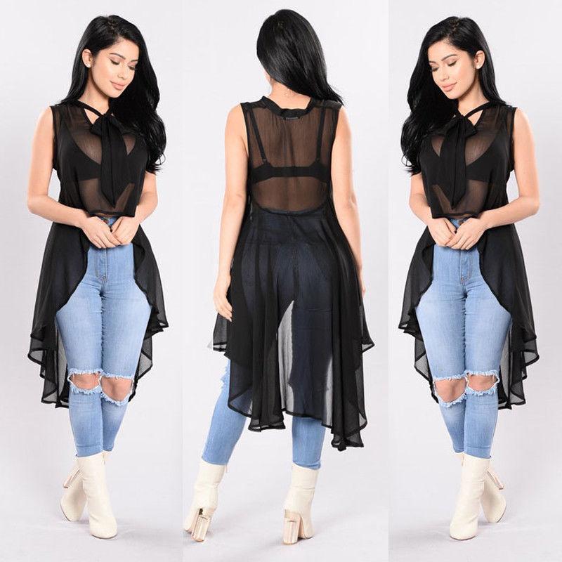 Hirigin Sexy Womens Transparent Fluoroscopy Sleeveless Loose Blouse Casual Shirt Summer Tops