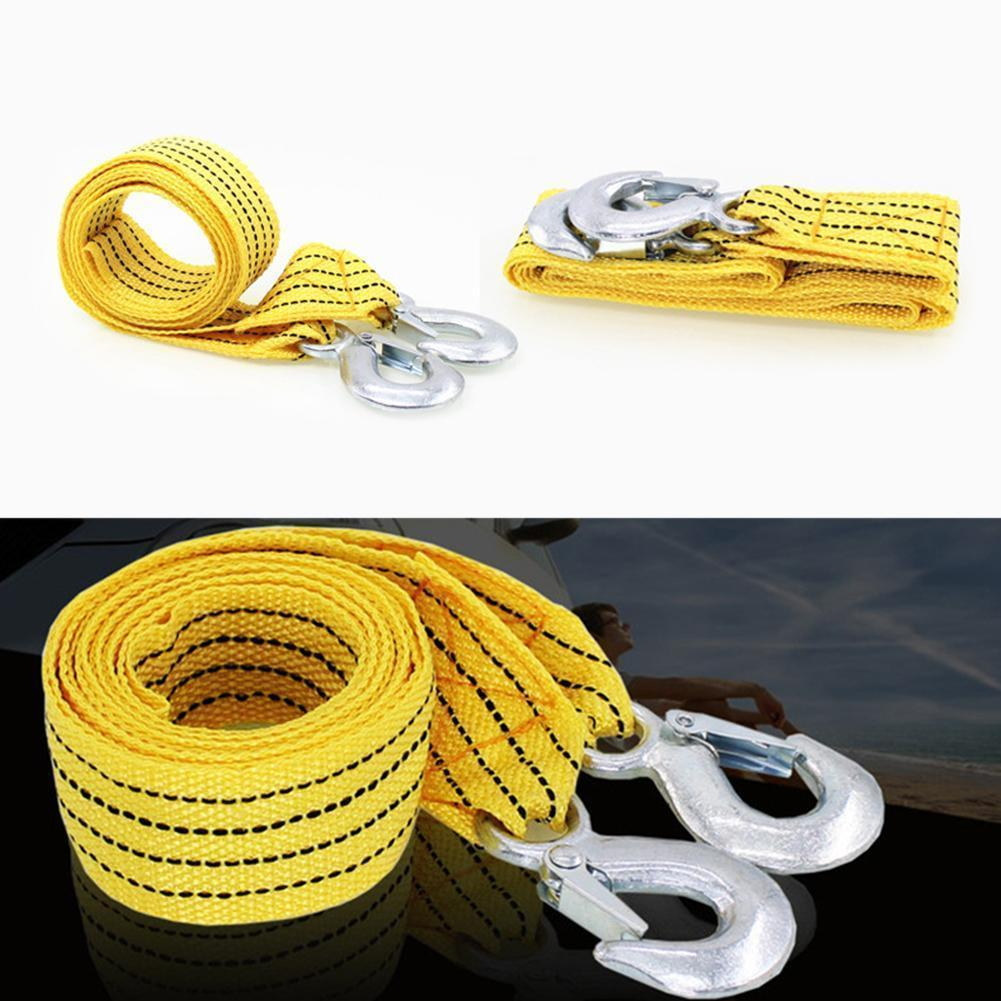 3m Heavy Duty 3 Ton Car Tow Cable Snatch Strap Towing Hooks Strap Road Wrought With Van Iron Hooks Pull Rope Rope Recovery E7Y7