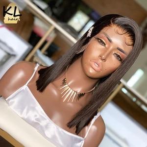 Image 4 - 13 × 6深部レースフロント人間の髪かつら事前摘み取らブラジルのremyストレートショートボブ2 × 6閉鎖かつら130密度自然な黒