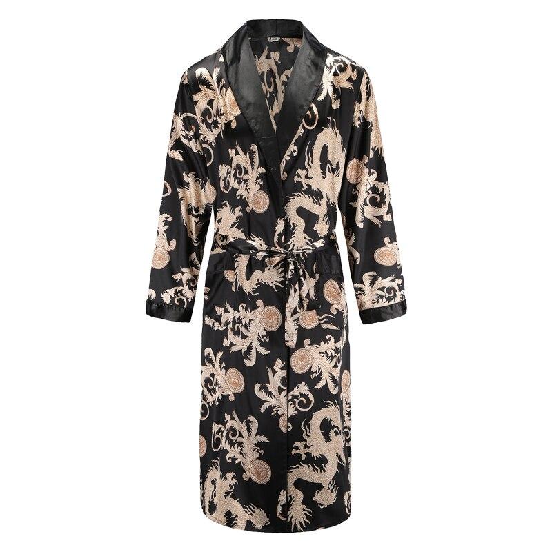 Men Mens Robe Long Sleeves Bathrobe Silky Satin  Kimono Dragon Print Pajamas Bathrobe Night Dressing Gown