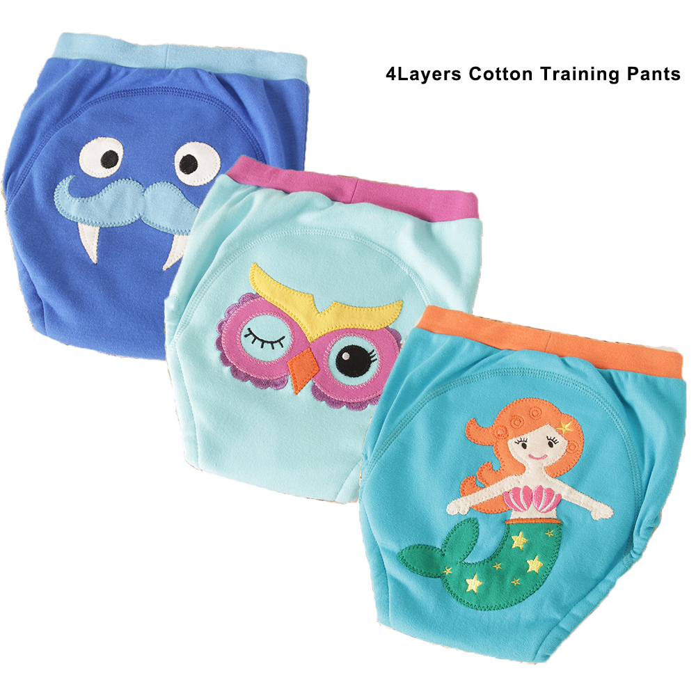 Reusable Cloth Diapers 4Layers Baby Cotton Training Pants Mermaid Baby Nappies For Girls Boys Cotton Panties Toddler Underwear