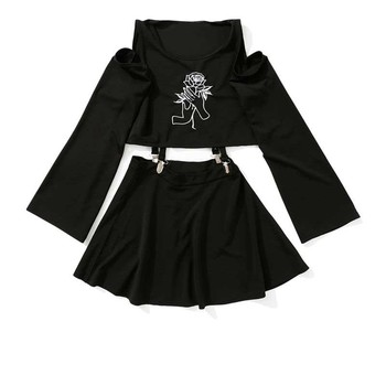 Harajuku Women's Dress Handheld Rose Embroidery Black Short Mini A-Line Punk Style Dress Female Sets Two Pieces Gothic Clothes 1