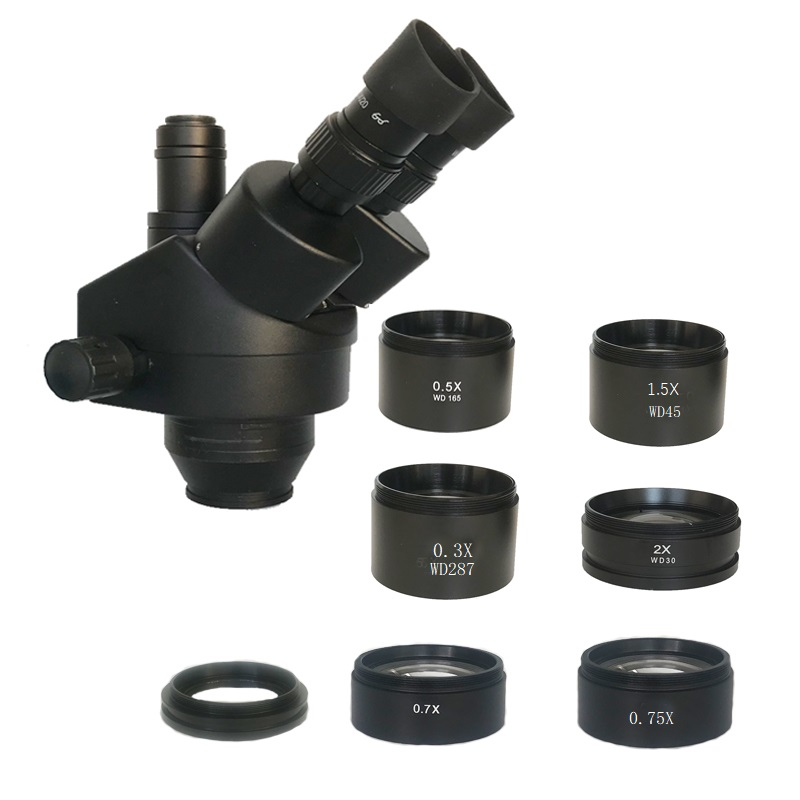 0.3X 0.5X 0.7X 0.75X 1X 1.5X 2.0X Auxiliary Objective Lens For Zoom Stereo Microscope Thread 48mm For Trinocular Microscopio