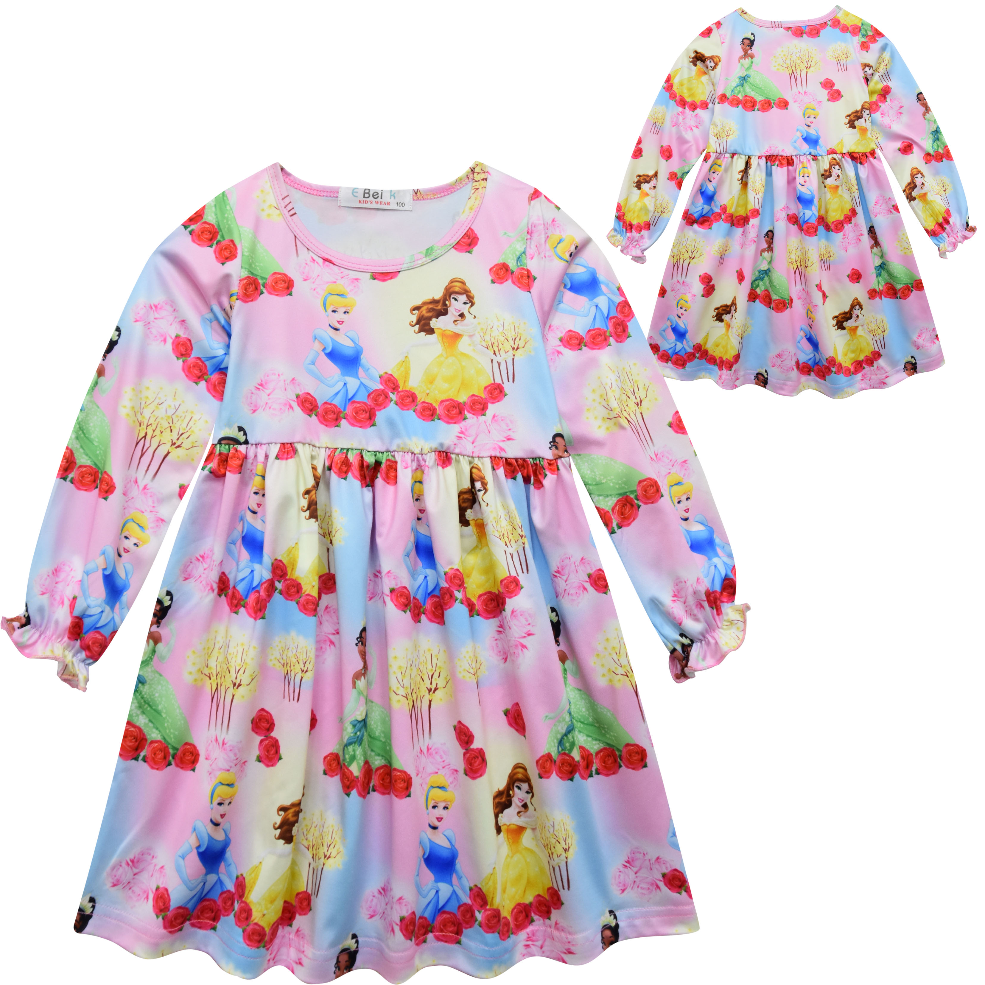 Toddler Girls Princess Cartoon Shirt Tunic Dress Summer Long Tops Casual Pajamas