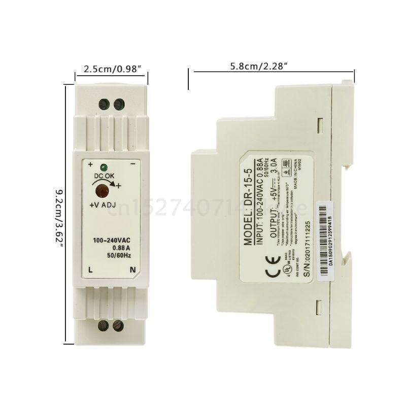 5V 12V 15V 24V DR-15W Industrial DIN Rail Switching Power Supply New
