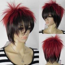 Парик красный черный смешанный Многоцветный Панк прямой унисекс косплей полный парик