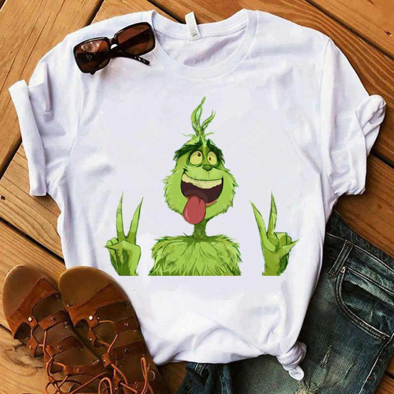 재미 있은 Grinch T 셔츠 여성 귀여운 편지 Grinch tshirt 여성 하라주쿠 인쇄 된 흰색 탑 크리스마스 보그 옷 grinch 셔츠