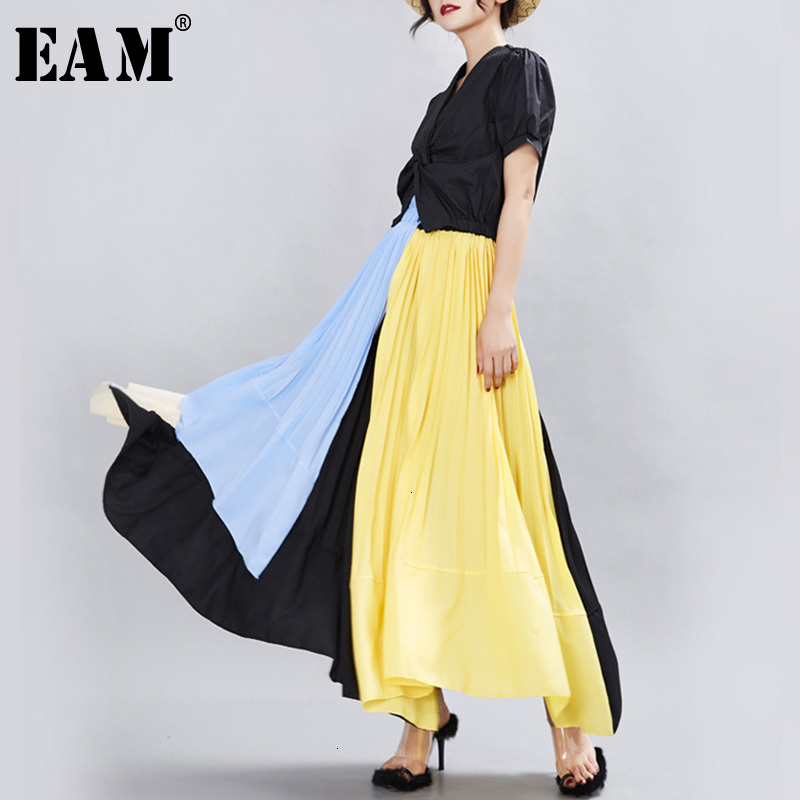 [EAM] High Elastic Waist Yellow Contrast Color Pleated Temperament Half-body Skirt Women Fashion New Spring Autumn 2020 1H011