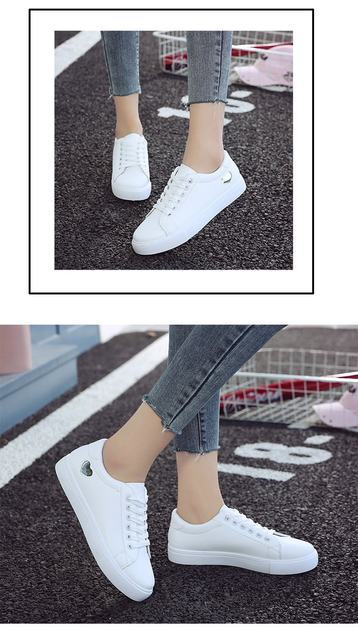 2019 Autumn Woman Shoes Fashion New Woman PU Leather Shoes Ladies Breathable Cute Heart Flats Casual Shoes White Sneakers 17