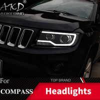 Boîtier de lampe frontale de style de voiture pour Jeep boussole 2011-2016 Grand Cherokee phare LED lentille DRL Double faisceau bi-xénon