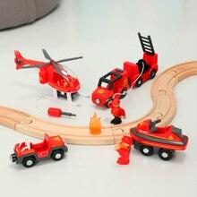 Tren de vías de madera con sonido y tren magnético ligero, Compatible con tren de conejo de arroz, coche Brio, juguetes de vía del tren