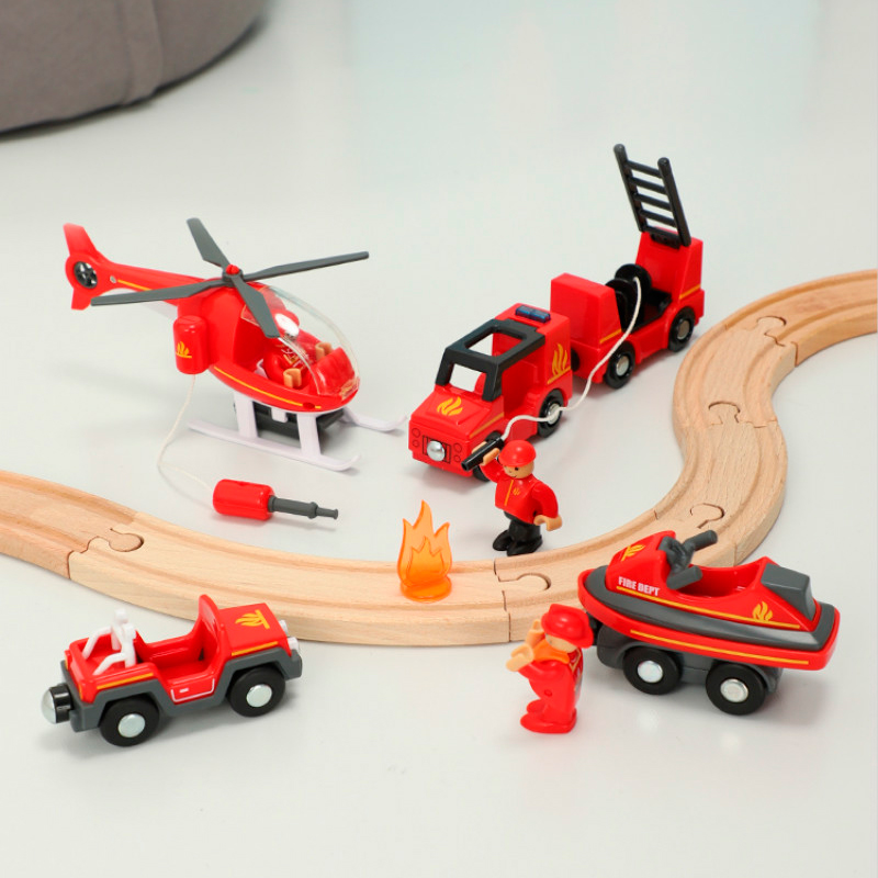Wooden Railway Track Sound And Light Magnetic Train Compatible With Rice Rabbit Rail Car Brio Wooden Quality Train Track Toys