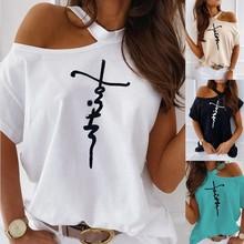 Women Plus Size Ladies One Shoulder Letter Printed T-Shirt T