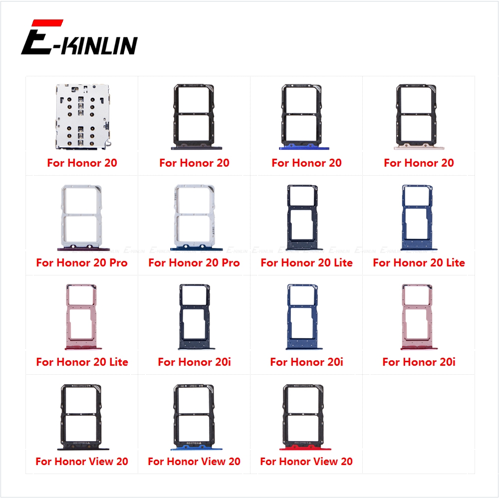 Sim Card Tray Socket Slot Reader Adapter For HuaWei Honor View 20 Pro Lite 20i Micro SD Card Holder Connector Container