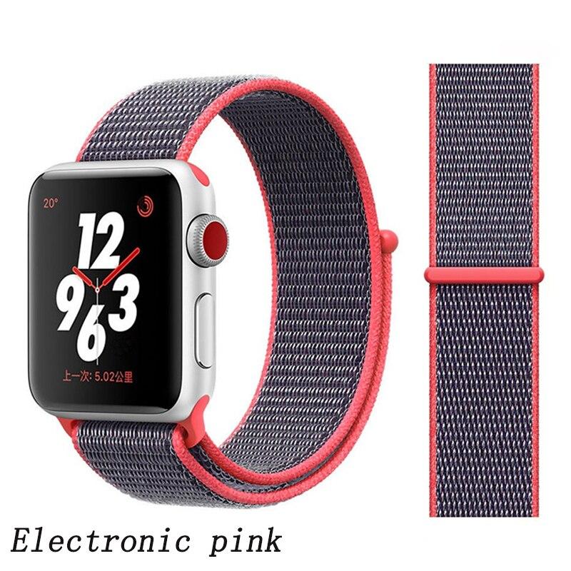 Спортивная петля ремешок apple watch band 42 мм 38 мм apple watch 4 3 band iwatch band 44 мм 40 мм correa pulseira 42 44 нейлоновый ремешок для часов - Цвет ремешка: light pink 7