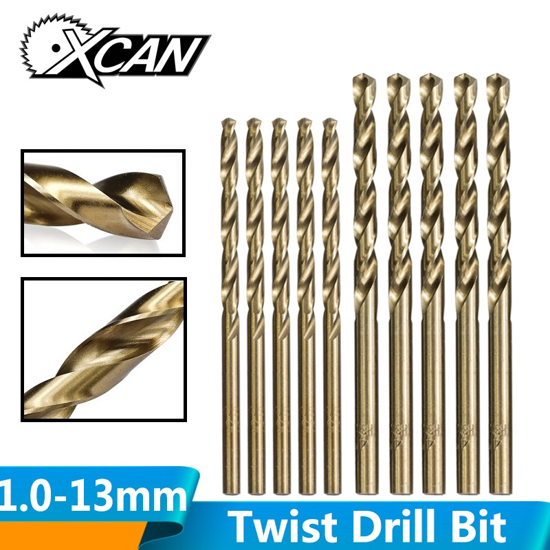 XCAN 1.0-13mm HSS M35 Cobalt Coated Twist Drill Bit Wood/Metal Hole Cutter Round Shank Gun Drill Bit