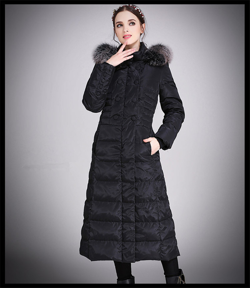 White Women's Duck Down Jackets Fox Fur Collar Woman Coat Hooded Winter Jacket Women Long Parka Chaquetas Mujer WXF418