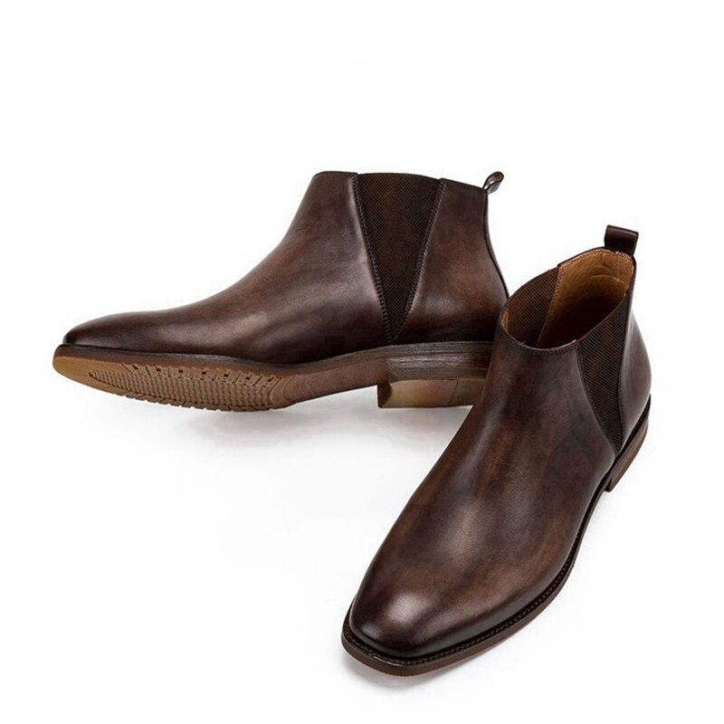 Модные мужские ботинки «Челси» ручной работы; обувь для верховой езды из натуральной кожи с острым носком; удобные мужские ботильоны с высо... - 5