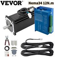 VEVOR-Motor paso a paso de bucle cerrado Nema34 12N.m, Kit de servoaccionamiento híbrido para máquinas de grabado/láser/CNC, 1000 líneas con controlador