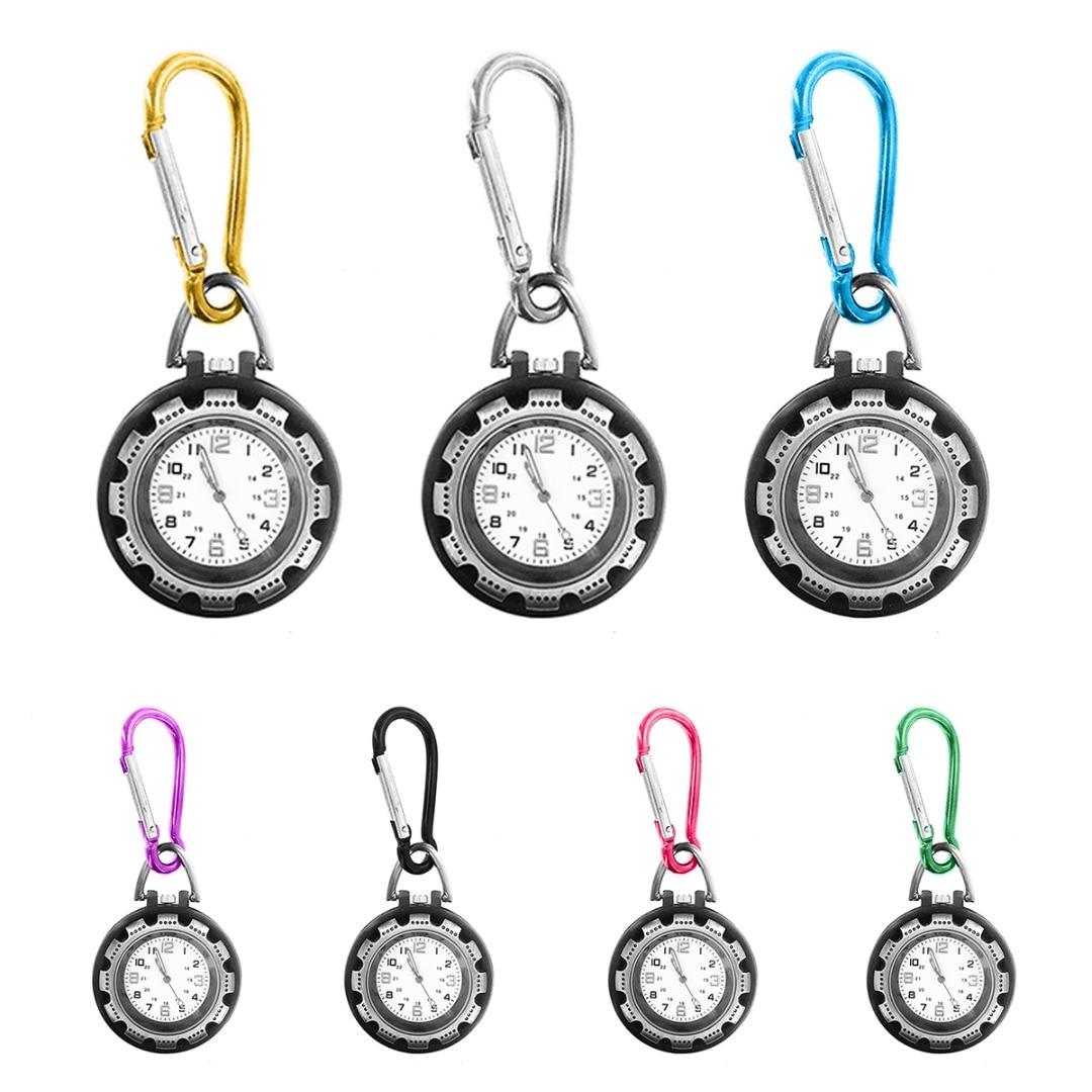 Outdoor Sport Mini Carabiner Watch Unisex Luminous Multifunction Carabiner Clip Keychain Pocket Fob Watch For Backpacker Nurse
