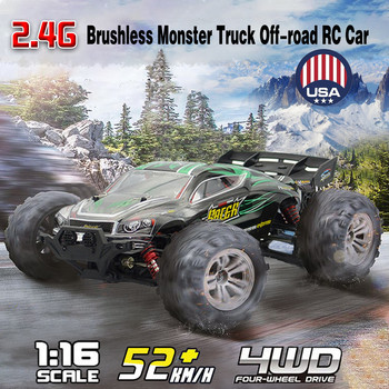 1:16 52Km/h 4WD RC Remote Control Off Road Racing Cars Vehicle 2.4Ghz Brushless Electric RC Car with Extra Car Cover#S3 1