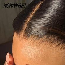 Invisível hd rendas 13x4 rendas frontal do cabelo humano em linha reta transparente hd rendas derreter peles pré arrancadas cabelo bebê remy wowangel