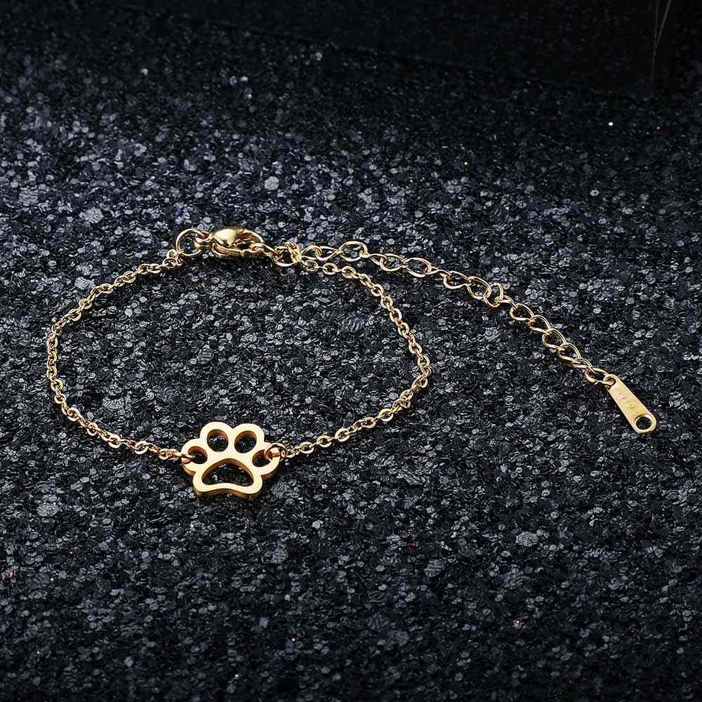 AAAAA качество 100% из нержавеющей стали собака кошка ПЭТ браслет с лапой для женщин Женский потрясающий браслет высокополированные Подвески Браслеты
