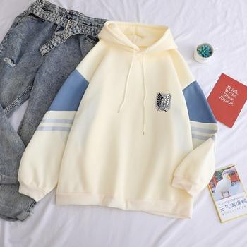 Attack on Titan Shield Printed Hoodies Autumn Winter Fleece Casual Spell Color Splicing Sweatshirt Loose Harajuku Kawaii Clothes 2