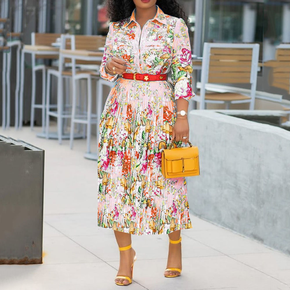 Elegant Office Lady Workwear Plus Size Midi Dresses Robe A Line Femme Vestiods 2019 Floral Pleated Dress African Women Autumn