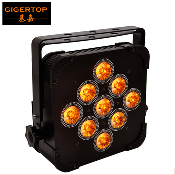 TIPTOP Stage Light 9 x 15W RGBWA 5IN1 Color Flat DMX512 Stage Led Par Light 25 Degree Lens Alumninum Case Fan Cooling Power Con