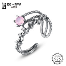 GOMAYA Hot Sale 100% 925 Sterling Silver Pink CZ Rings For Women Fashion S925 Jewelry Gift 100% s925 sterling silver key chain personality fashion retro punk style heart shaped sword design gift 2018 new hot sale