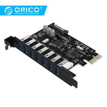 цена на ORICO USB 3.0 7 Port PCI-E Express Card Sata to 15 Pin High Speed Extender Adapter Card Power Connector PVU3-7U-V1