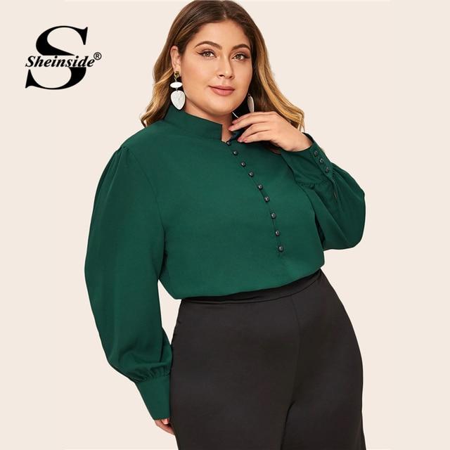 Sheinside Plus Size Elegant Green Stand Collar Blouse Women 2019 Autumn Button Up Detail Blouses Ladies Solid Minimalist Top 4