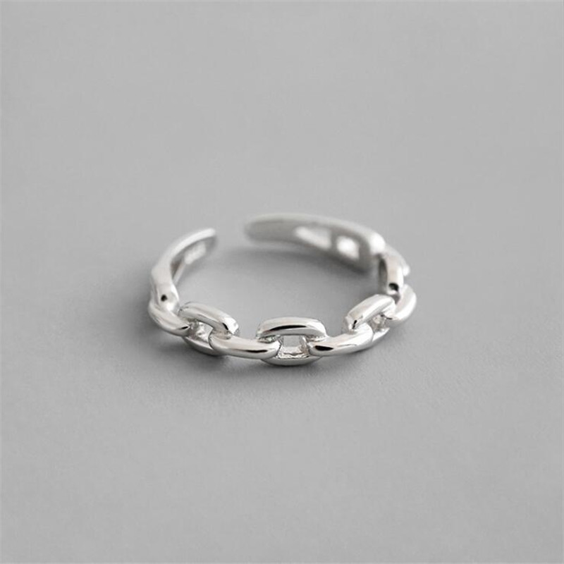 New Fashion Simple Personality Chain Shaped 925 Sterling Silver Not Allergic Hollow Fine Chain Adjustable Opening Rings SR582