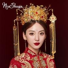 Традиционная китайская Свадебная головная повязка niushuya металлическая