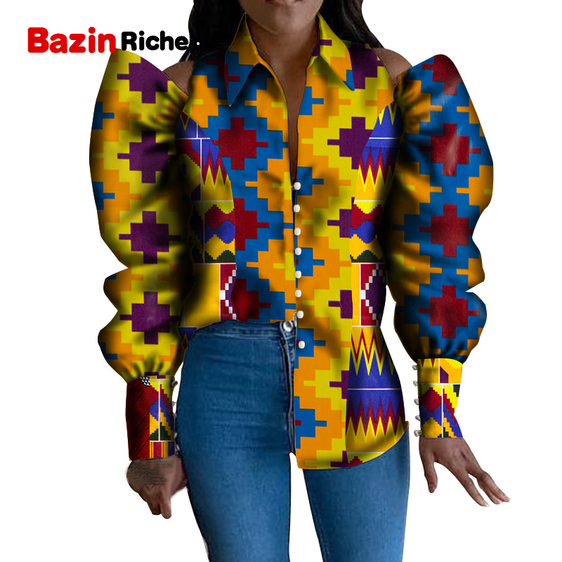 WY5326 2020 Stylish Tops For Women African Bazin Riche Shirts Africa Cotton Long Puff Sleeve Print Shirt Lady African Clothing