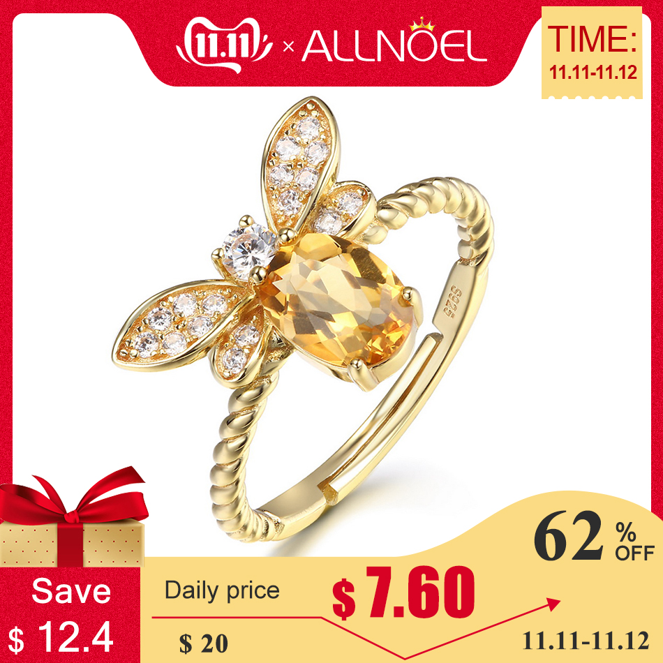ALLNOEL Fine Jewelry Rings 925 Sterling Silver Natural Gemstone  Citrine Bee Engagement  Ring Set Wedding Silver Custom Jewellry