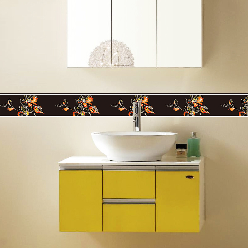PVC Self Adhesive 3D Wall Sticker Border Kitchen Bathroom Skirting Line Sticker Removable Modern Tile Wallpaper Waterproof Decor