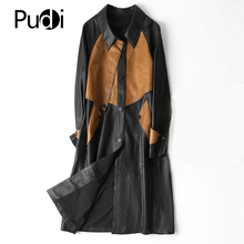 Jacket Overcoats Trench Real-Sheepskin Genuine-Leather Women Pudi Long A20005 Female