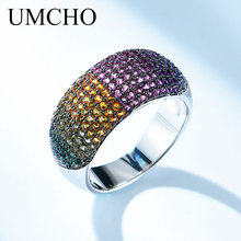 UMCHO 925 Sterling Silver Rainbow Rings for Women Anniversary Wedding Bands Gift Colorful Gemstone Fine Jewelry