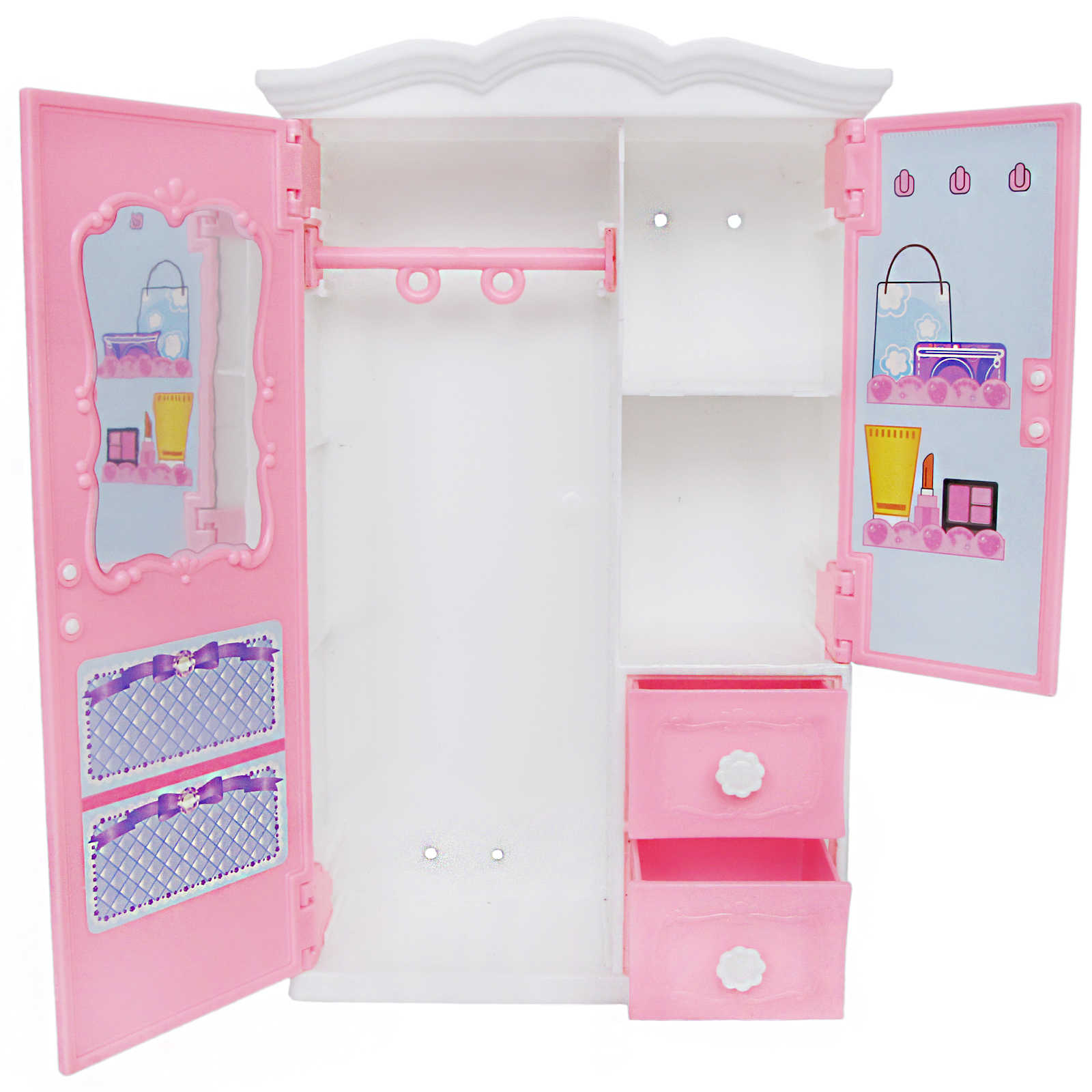 1 Set Mini Plastic Wardrobe With Mirror Drawer Pink Princess Bedroom Dollhouse Furniture Accessories Closet For Barbie Doll Toy Aliexpress